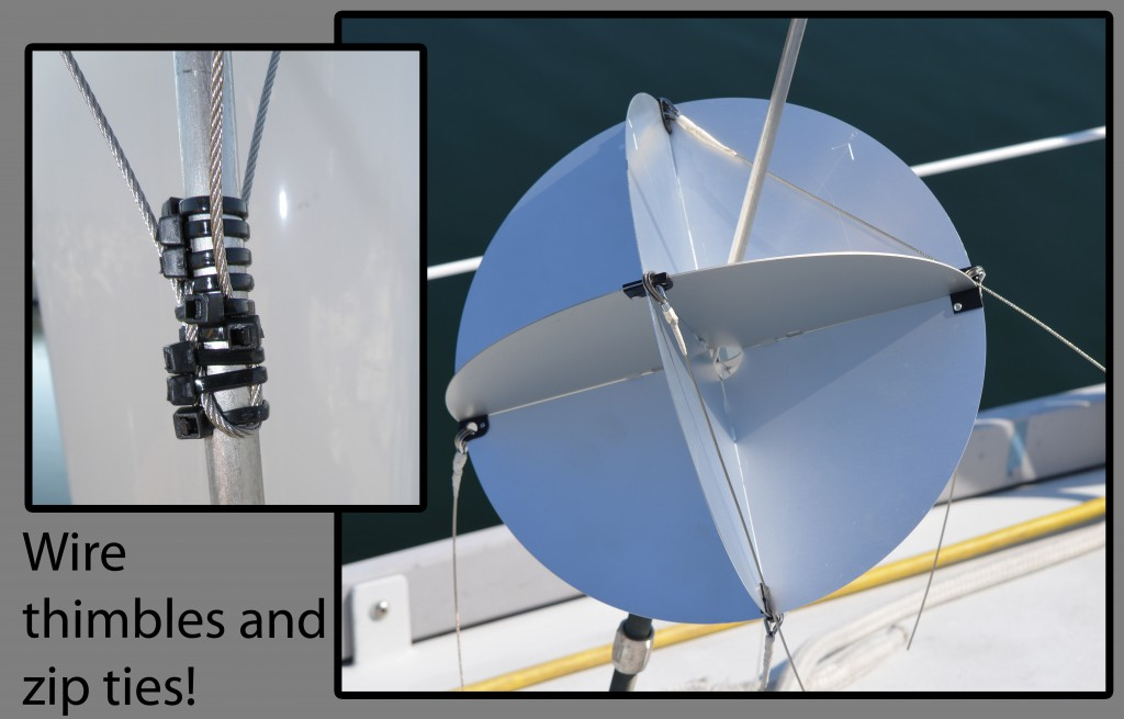 Radar reflectors. We installed new ones before leaving Anacortes, WA. Long work, but necessary, and EVERYONE can see us on radar now!