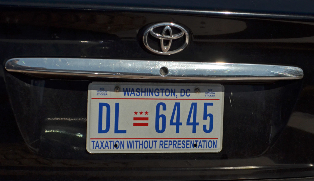 DC License Plate - yup, that's what it says.