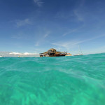 Floating bar and pizza joint on the outer reef in Fiji